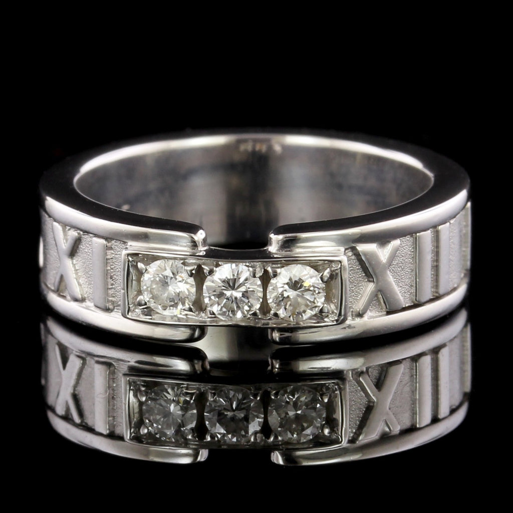 Tiffany & Co. 18K White Gold Estate Diamond Atlas Ring.