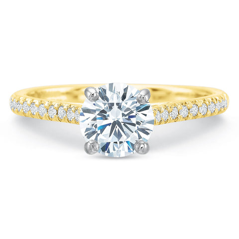 18K Yellow Gold Shared Prong Engagement Ring