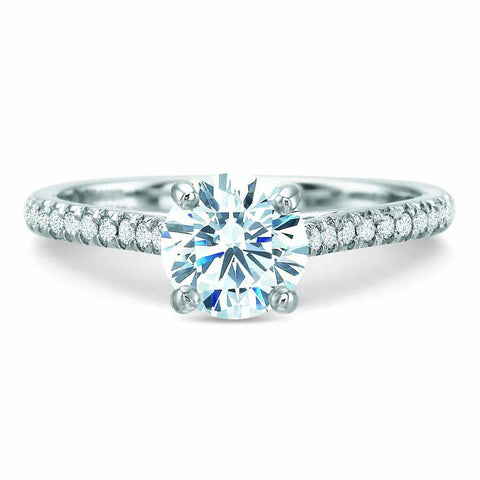 18K White Gold Shared Prong Engagement Ring