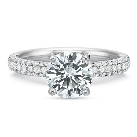 18K White Gold 3 Row Pave Engagement Ring