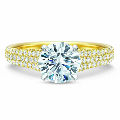 18K Yellow Gold Pave Tapered Diamond Engagement Ring