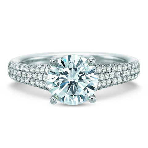 18K White Gold Tapered Pave Engagement Ring
