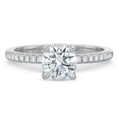 18K White Gold Prong Set Half Diamond Shank Engagement Ring
