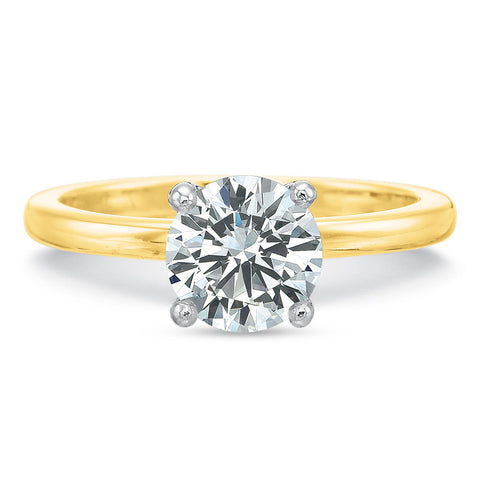 18K Yellow Gold Round 4-Prong Solitaire Engagement Ring