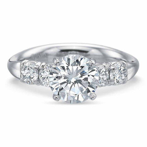 Platinum Round 5 Stone Diamond Engagement Ring