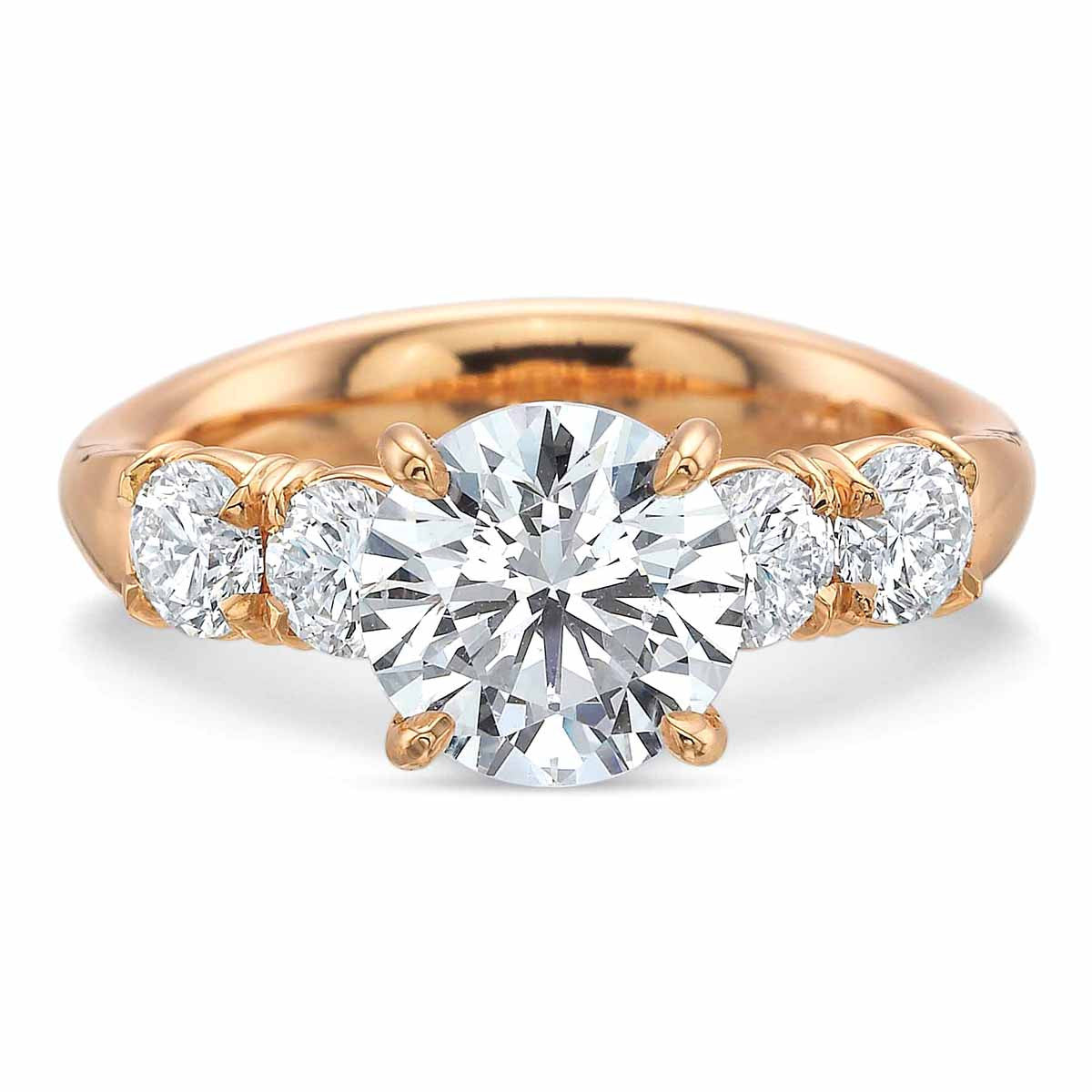 18K Rose Gold 4 Stone Diamond Engagement Ring