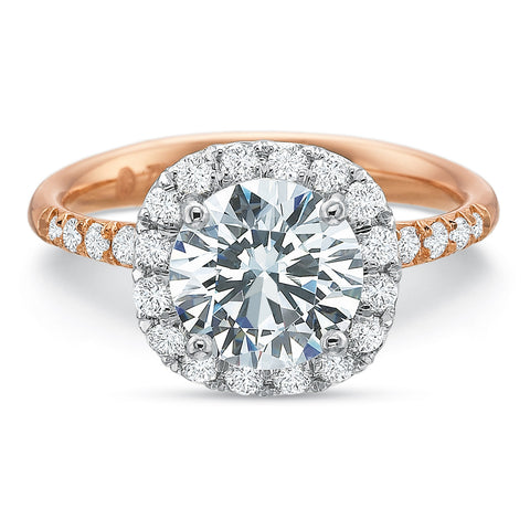 18K Rose Gold & Platinum Cushion Halo Diamond Engagement Ring