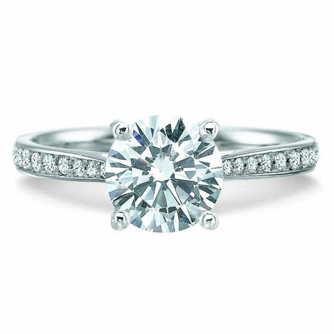 18K White Gold Bella Vita Pave Diamond Halo Engagement Ring