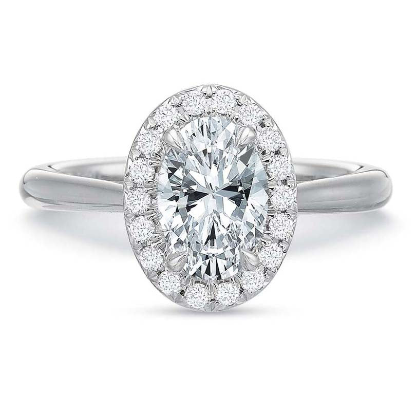 18K White Gold Oval Diamond Halo Engagement Ring