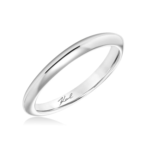 18K White Gold Plain Band