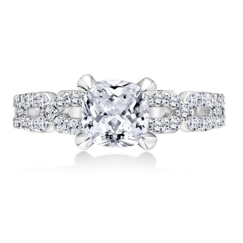 18K White Gold .74 CTW 4 Prong Pave Engagement Ring