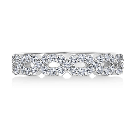 18K White Gold .57 CTW Open Circle Diamond Band