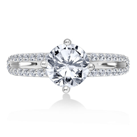 18K White Gold .71 CTW 4 Prong Pave Engagement Ring