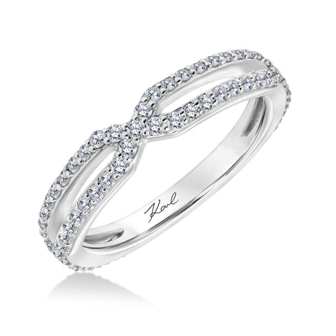 18K White Gold .55 CTW Diamond Cut Out Band