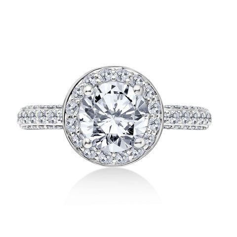 18K White Gold 1.15 CTW Round Halo Engagement Ring