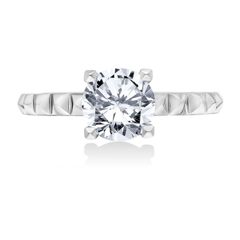 18K White Gold .11 CTW 4 Prong Pyramid Engagement Ring