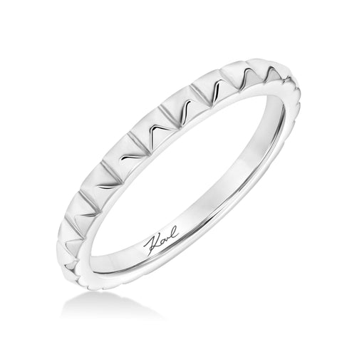 18K White Gold Pyramid Band