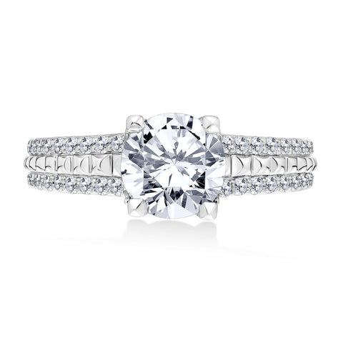 18K White Gold .65 CTW 4 Prong Pyramid Engagement Ring