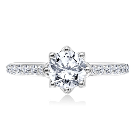18K White Gold .31 CTW 8 Prong Engagement Ring