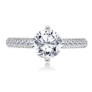 18K White Gold .74 CTW 4 Prong Pave Engagement Ring Setting