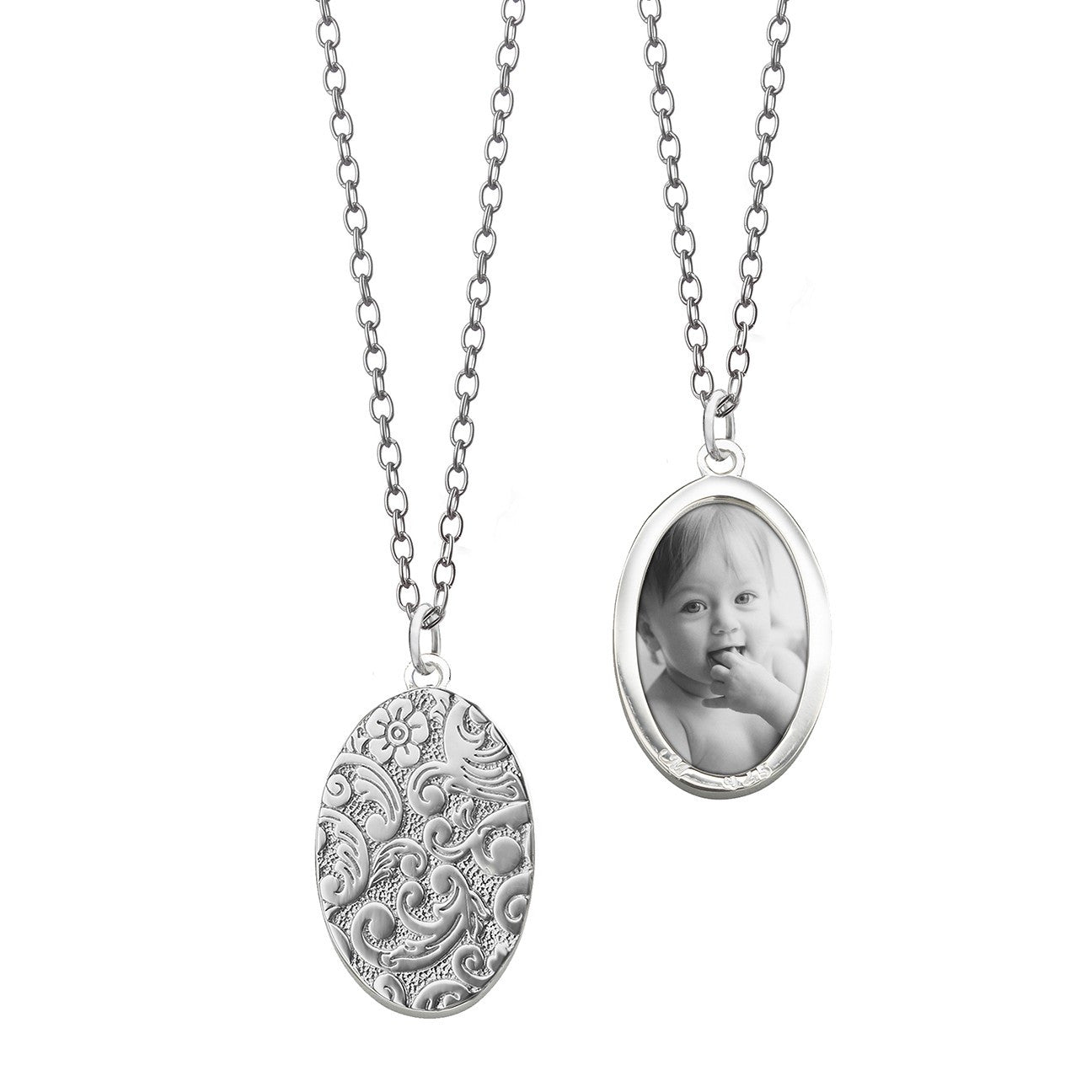 Sterling Silver Oval Half-Locket Necklace