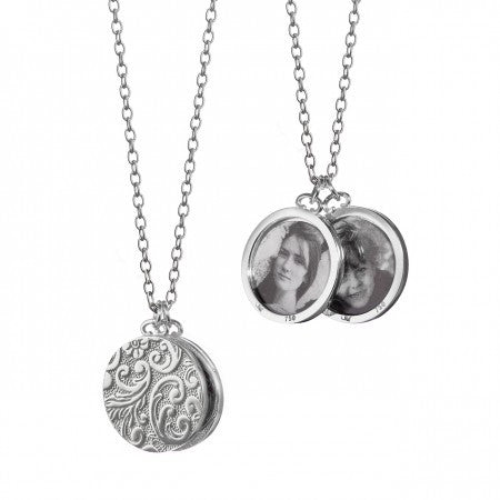 Sterling Silver Double Round Half-Locket Necklace