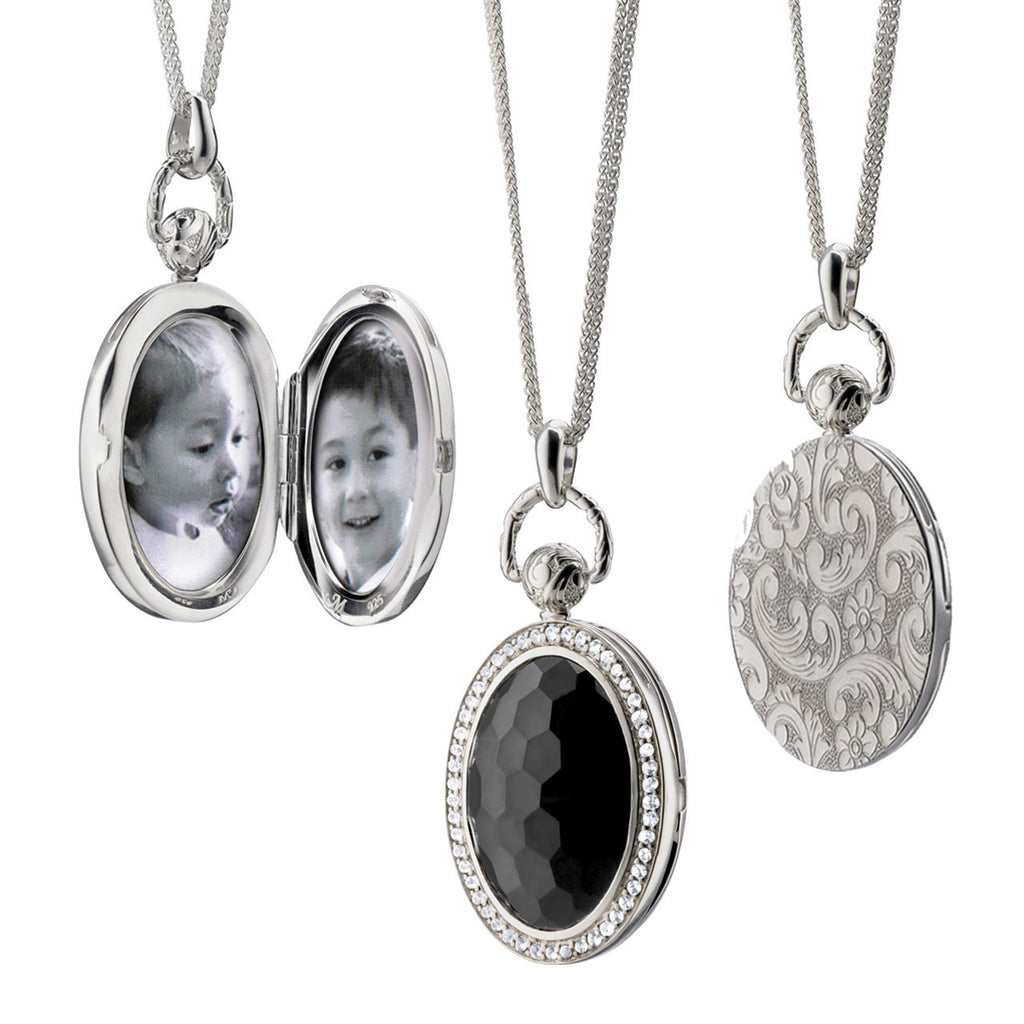 Sterling Silver Black Onyx Oval Pocket Watch Locket