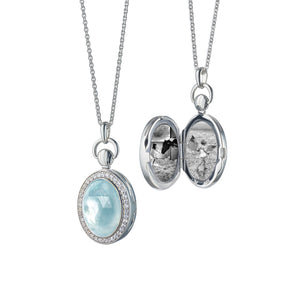 Sterling Silver Blue Topaz Petite Stone Locket