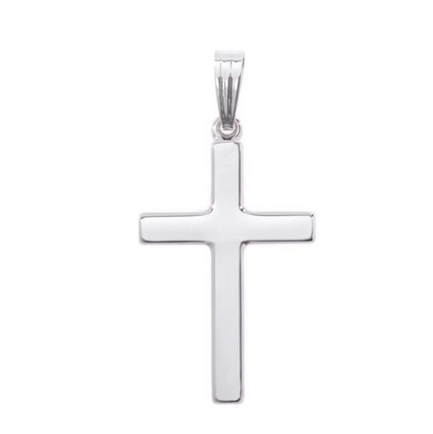 14K White Gold Polished Cross