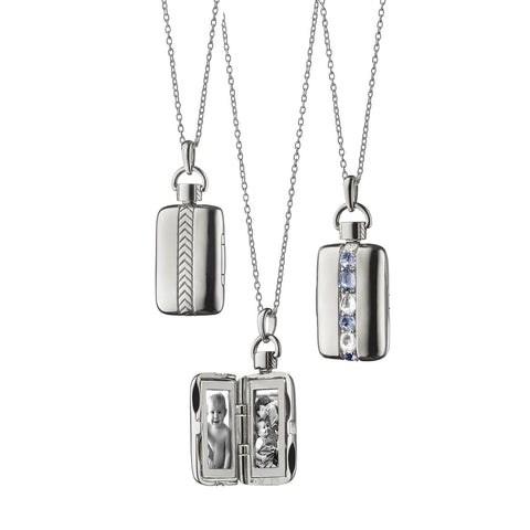Sterling Silver Rectangular Locket With Blue Sapphires