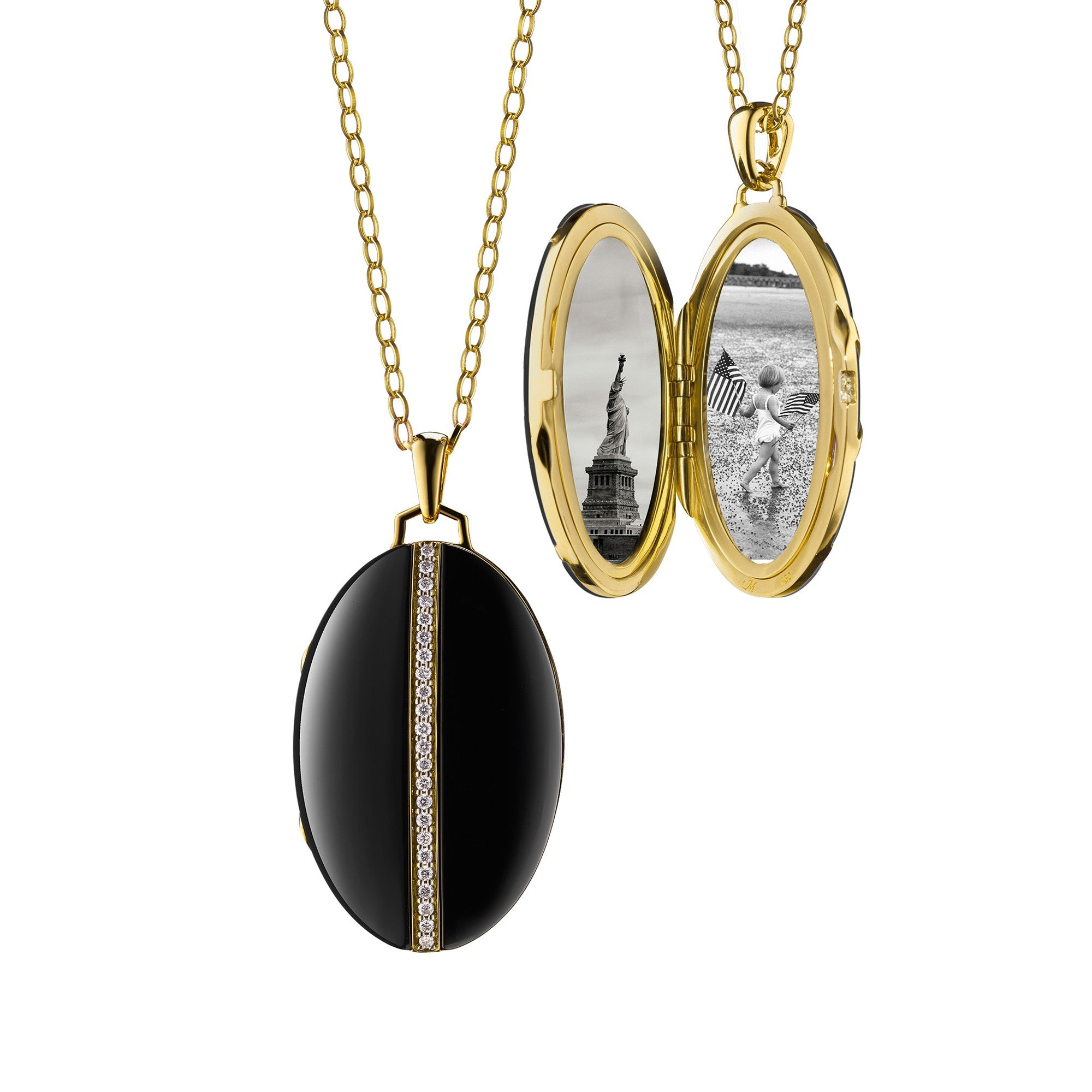 18K Yellow Gold Oval Black Ceramic Locket With Diamond Accents