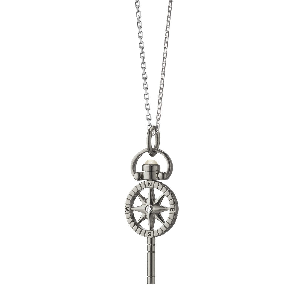 "Sterling Silver Mini ""Travel"" Compass Key With Sapphire"