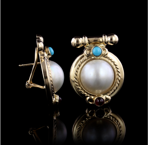 14K Yellow Gold Cultured Mabe Pearl, Turquoise and Garnet Earrings