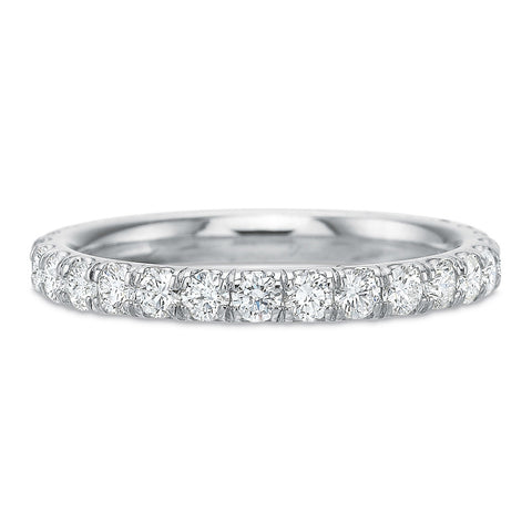 18K White Gold Channel Set Halway Diamond Band with Milgrain