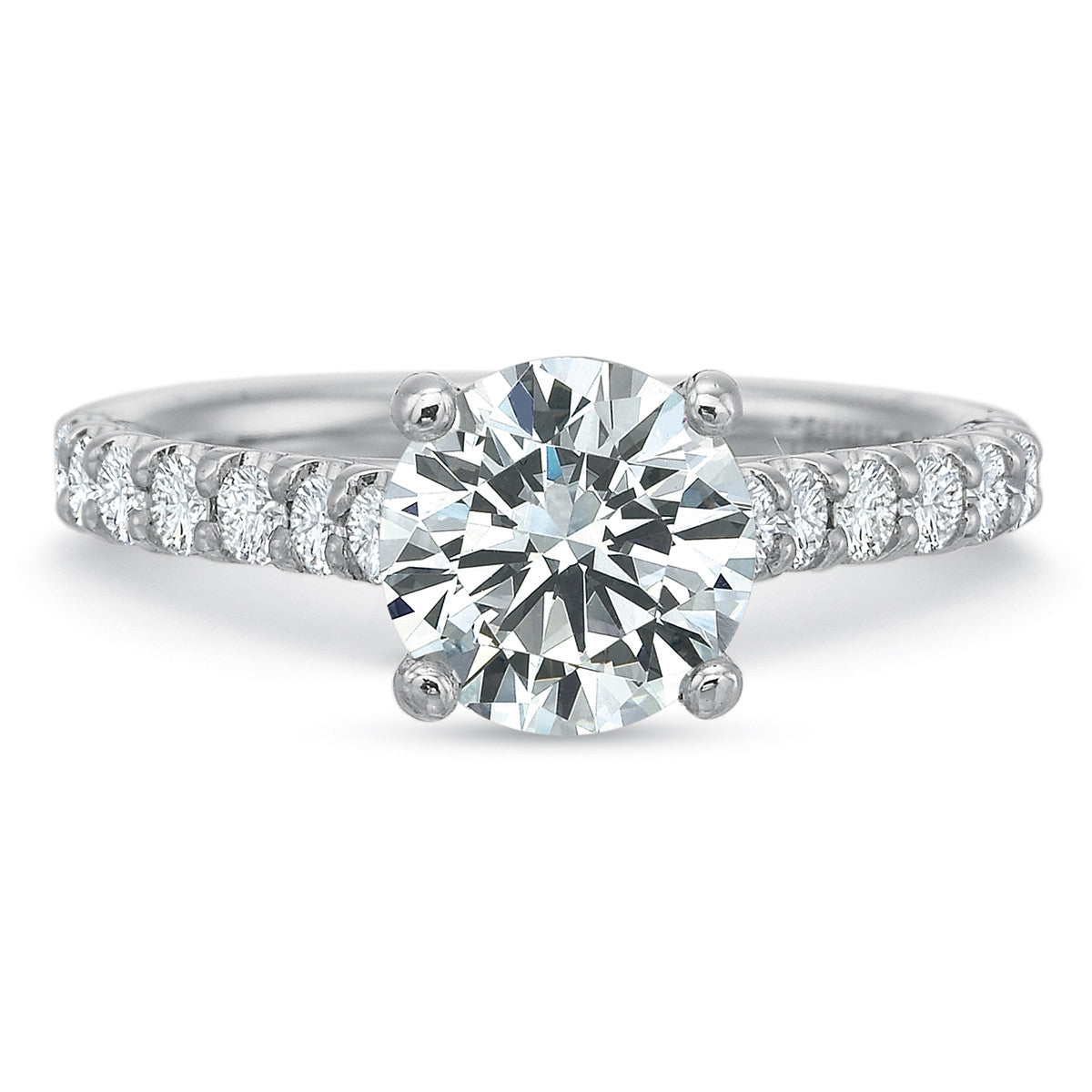 18K White Gold Diamond Accent Engagement Ring