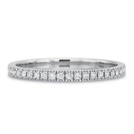 18K White Gold Channel Set Eternity Band with Milgrain