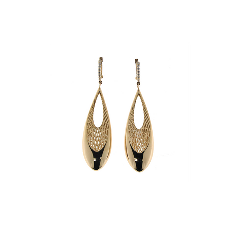 Golden Gate 18K Two-Tone Diamond Teardrop Earrings