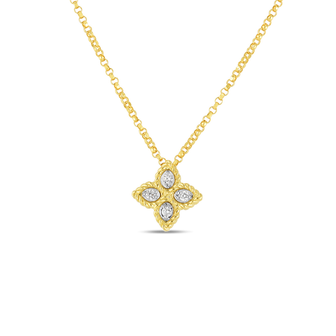18K Yellow and White Gold Princess Flower Diamond Pendant