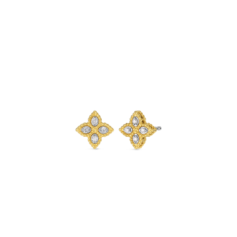 Princess 18K Yellow Gold Diamond Flower Studs