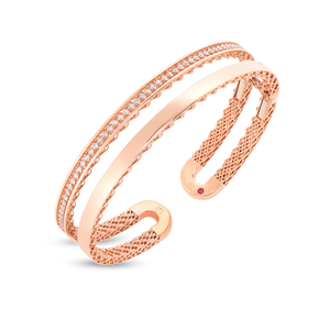 Double Symphony Golden Gate 18K Rose Gold Diamond Bangle