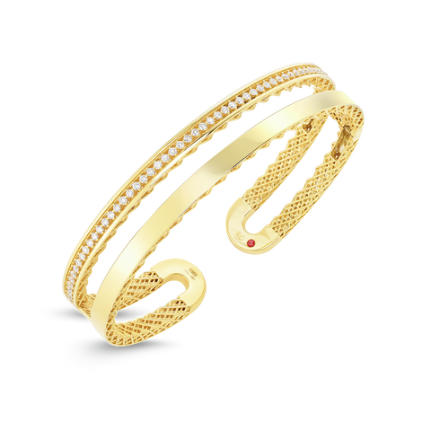 Double Symphony Golden Gate 18K Yellow Gold Diamond Bangle