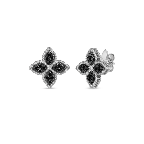 Princess 18K White Gold Black Diamond Flower Studs