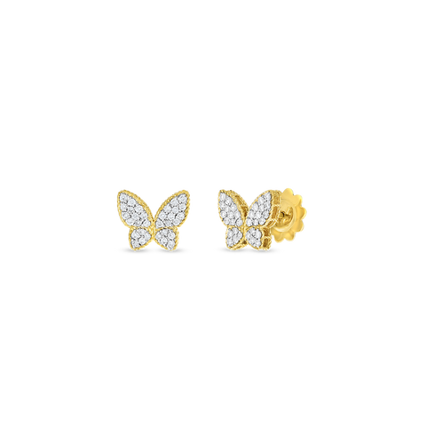 18K Two-tone Diamond Butterfly Stud Earrings
