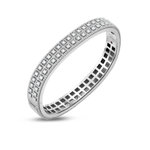 Byzantine Barocco 18K White Gold Two Row Diamond Bangle