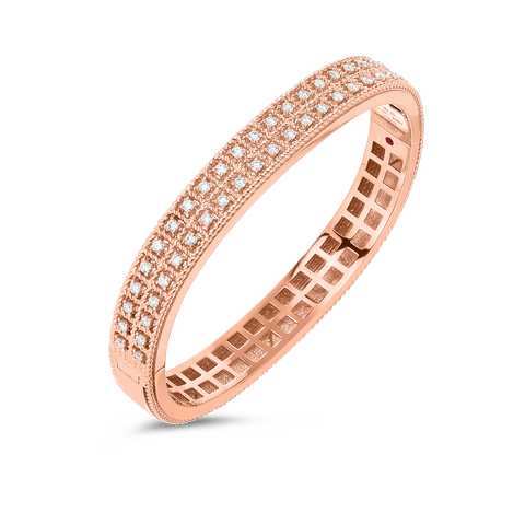Byzantine Barocco 18K Rose Gold Two Row Diamond Bangle