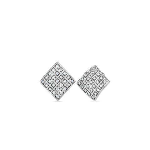 Byzantine Barocco 18K White Gold Square Diamond Earrings