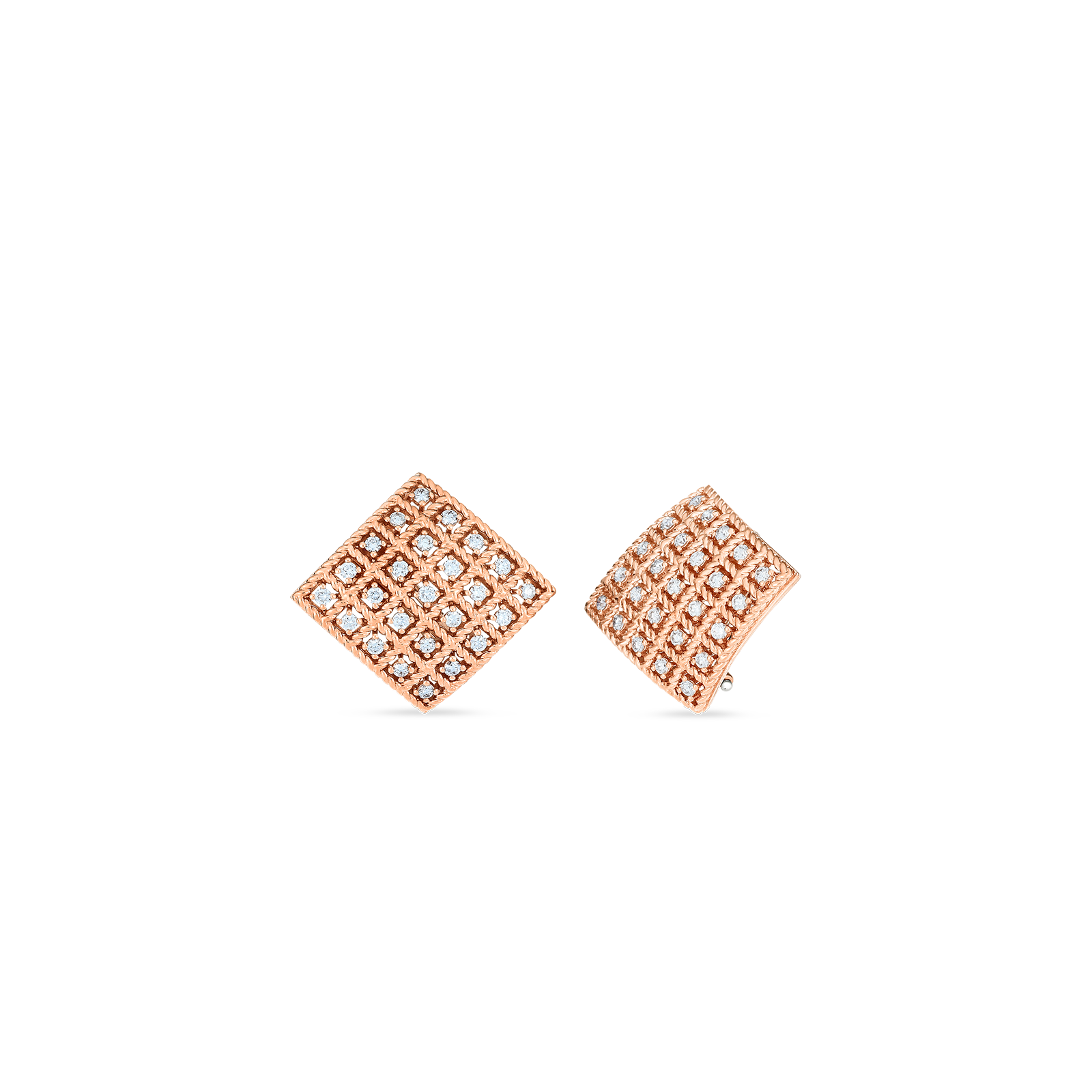 Byzantine Barocco 18K Rose Gold Square Diamond Earrings