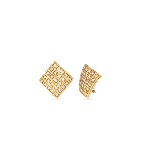 Byzantine Barocco 18K Yellow Gold Square Diamond Earrings