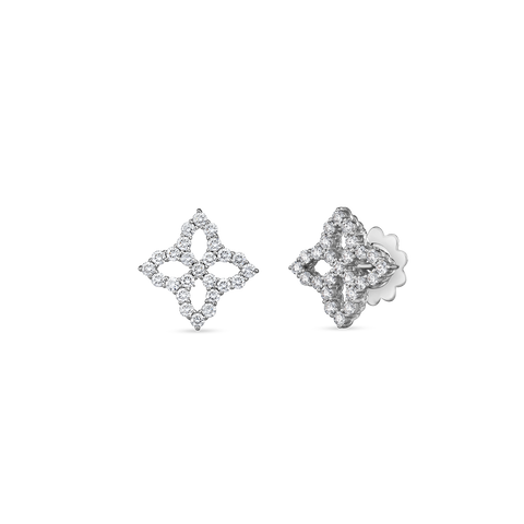 18K White Gold Diamond Flower Studs