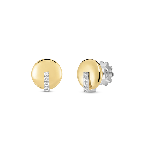 18K Two-Tone Diamond Disc Earrings